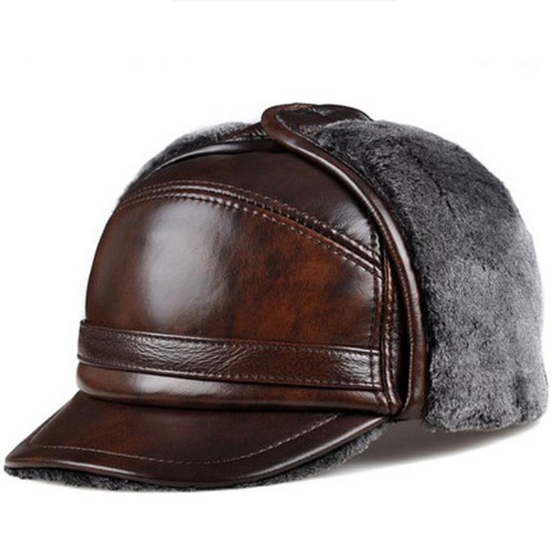 RY0201 Male Winter Warm Ear Protection Bomber Hat Man Genuine Leather Faux Fur Inside Black/Brown Ultra Large Size 54-62cm Caps 1