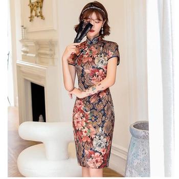 Vestido Cheongsam Vintage de talla grande, chino tradicional, Floral Delgado, Qipao para mujer, fiesta, Cheongsam, boda, 8 colores