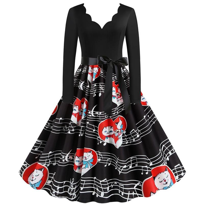 Women Long Sleeve Winter Vintage Dresses Sexy Black Music Note Print V-neck Rockabilly Pin up Party Dress Vestidos Plus size 589