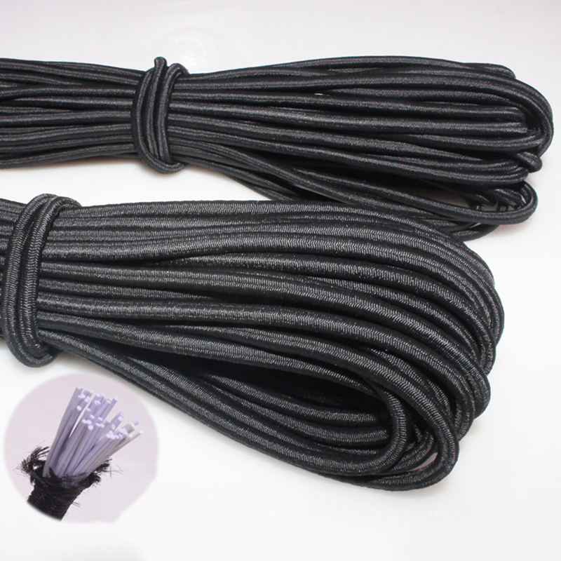 1/2/3/4/5/6 мм Белый/Черный прочная эластичная ткань канатная Резиновая лента для шитья одежды рукоделия эластичная лента для DIY Швейные аксессу...