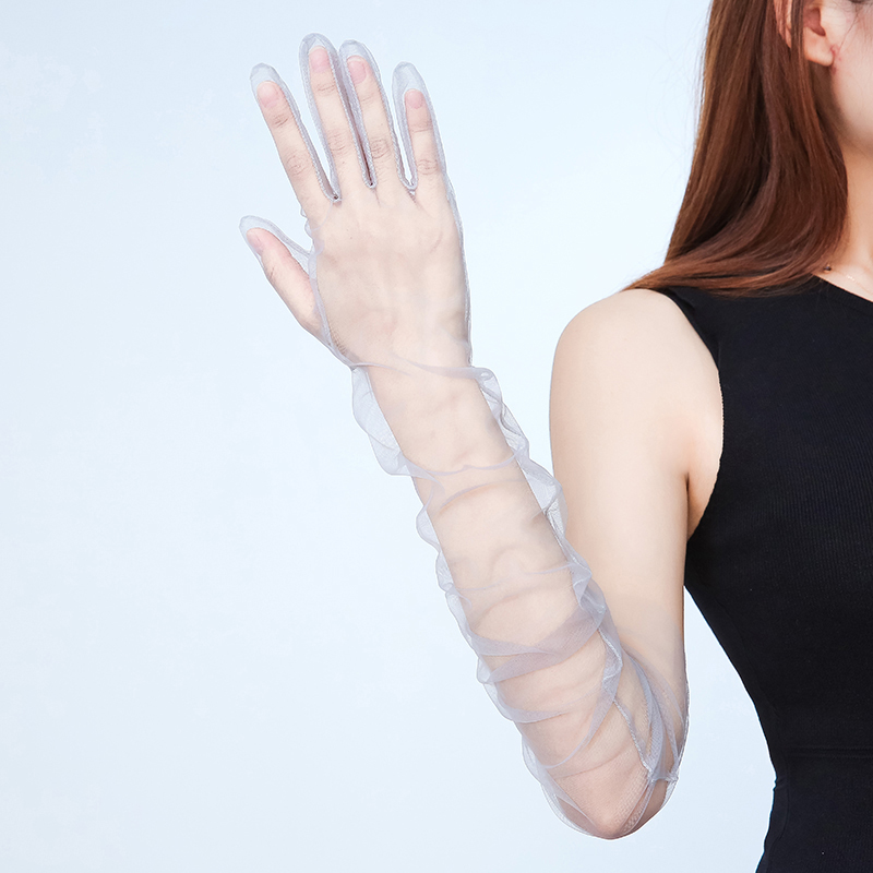 1Pcs Women Summer Gloves Solid Color Transparent Chiffon Gloves Bride Dress Decoration Elegant Anti-UV Sunscreen Wedding Gloves