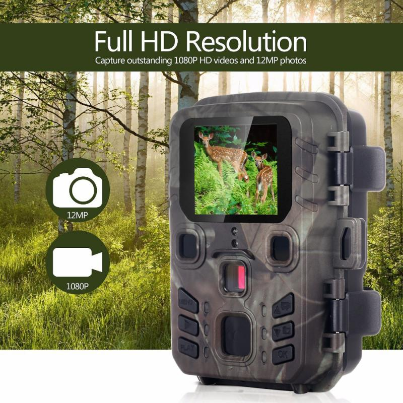 2020 Mini Trail Camera Hunting Game 12MP 1080P Outdoor Wildlife Scouting Hunting Camera With PIR Sensor 0.45s Fast Trigger image