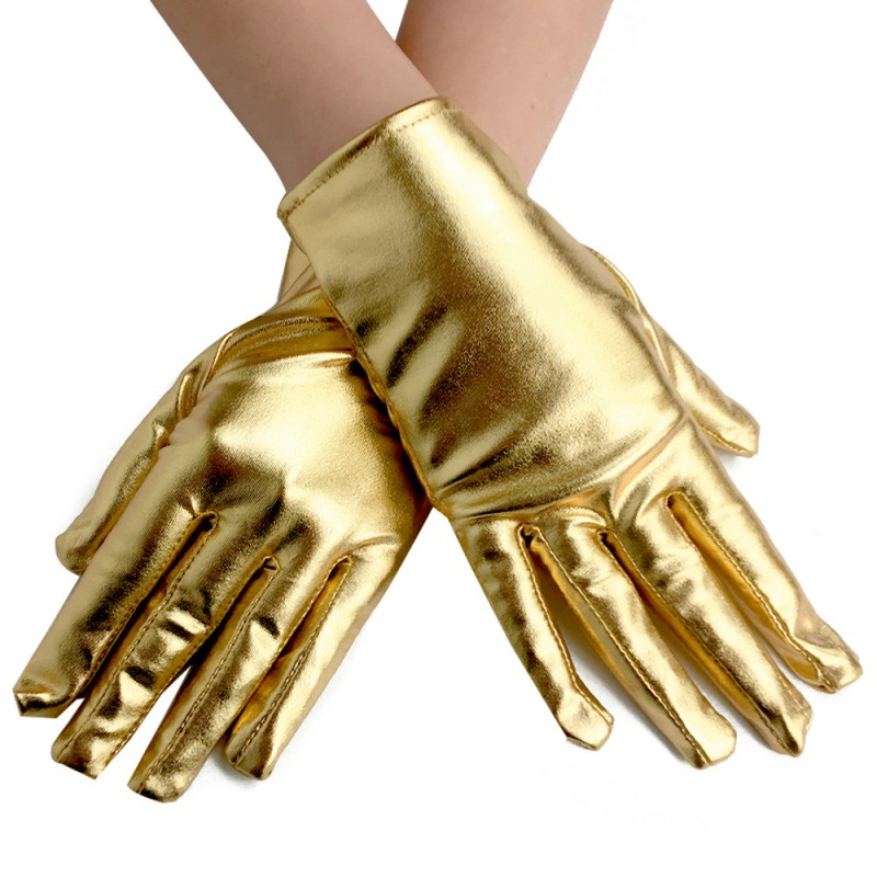 Women's Shiny Metallic Spandex Gloves Formal Bridal Prom Banquet Party Wedding Gold Colorful Gloves Guantes Largos Morados