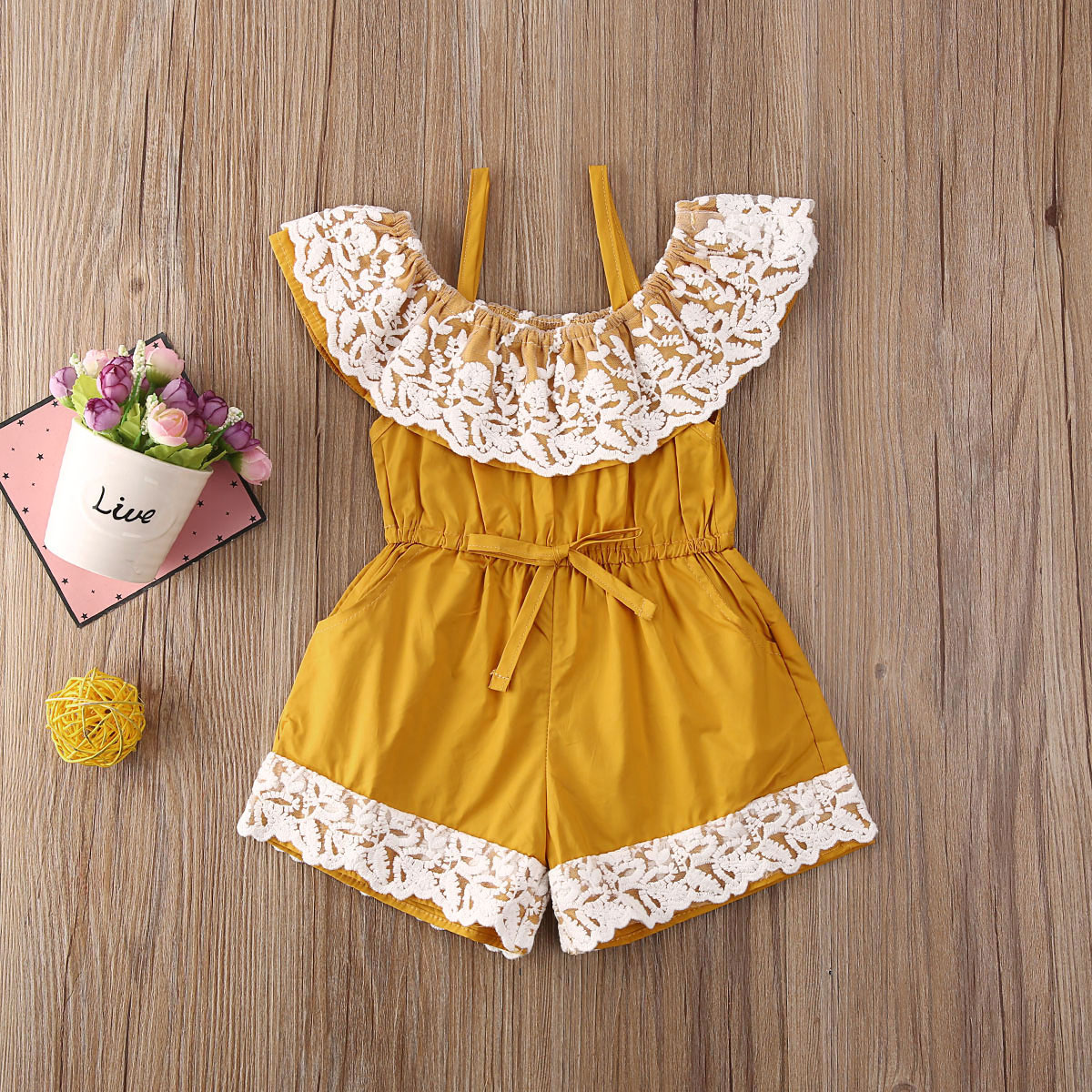 Pudcoco Newborn Baby Girl Clothes Solid Color Lace Flower Ruffle Off Shoulder Strap Romper Jumpsuit Outfit Playsuit Clothes