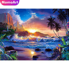 MomoArt Full Drill Square Diamond Painting Landscape DIY Embroidery Flowers Home Decoration Sea Picture Of Rhinestone
