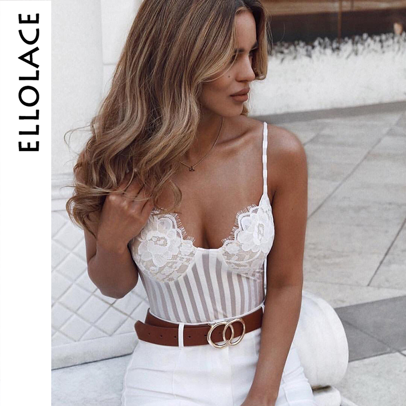 Ellolace Sexy Lace Bodysuit Mesh Strip Female Slim Body Solid Slim Rompers Sleeveless Skinny 2019 White Black Ladies Overalls
