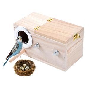 Pet Bird Wooden House Parakeet