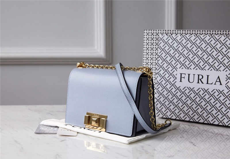 Original FURLA Women's Bags,High Quality Small Size Women's Furla Leather Bags Violet Color Size 20cm*8cm*14cm