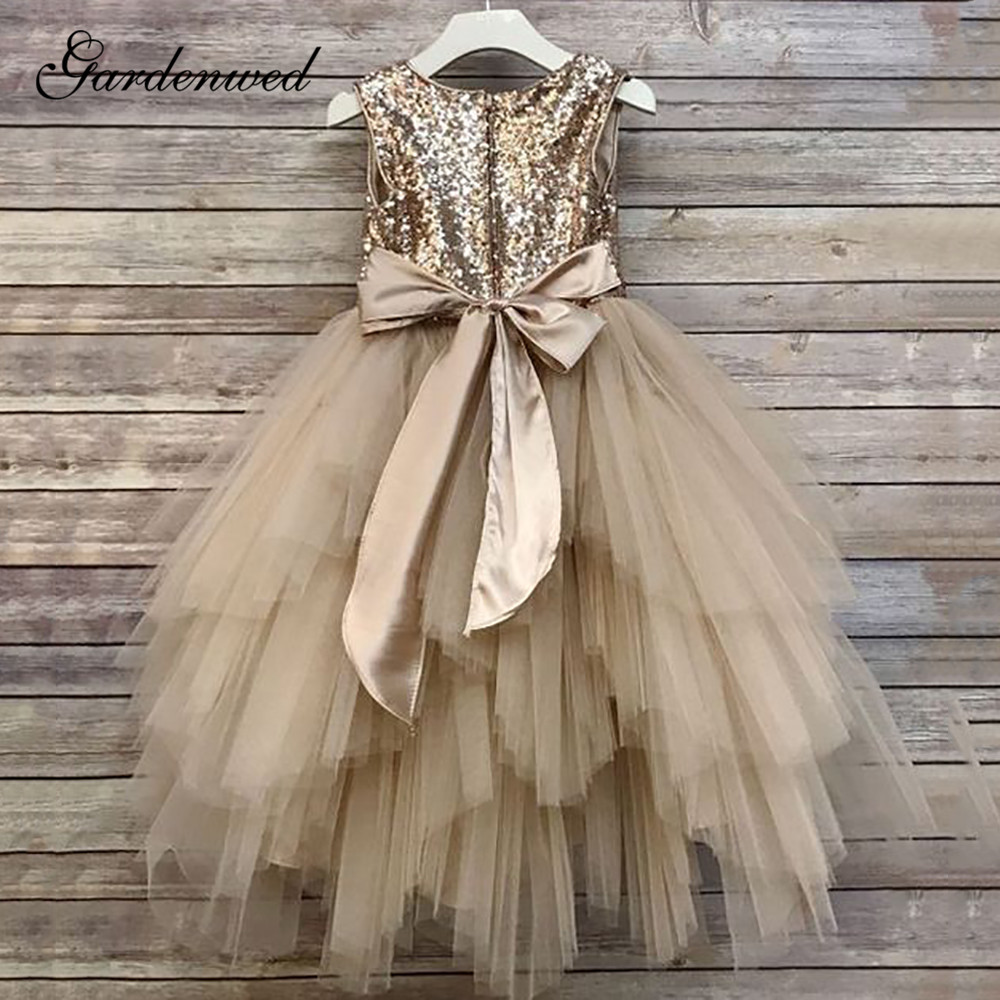 Champagne Gold Sequin Lace Flower Girl Dresses Tiered Tulle Girls Pageant Dresses O-Neck A-Line Baby Wedding Party Dresses