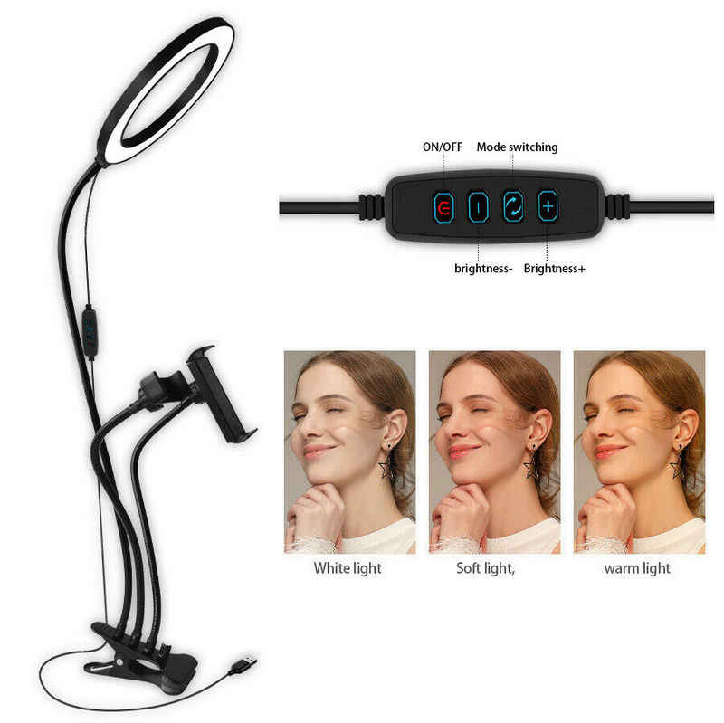 3 in 1 Große größe ring Dia.20CM Led Selfie Licht w/Telefon Tablet Pad Halter Youtube Vedio Live-Stream make-up Studio schießen Lampe