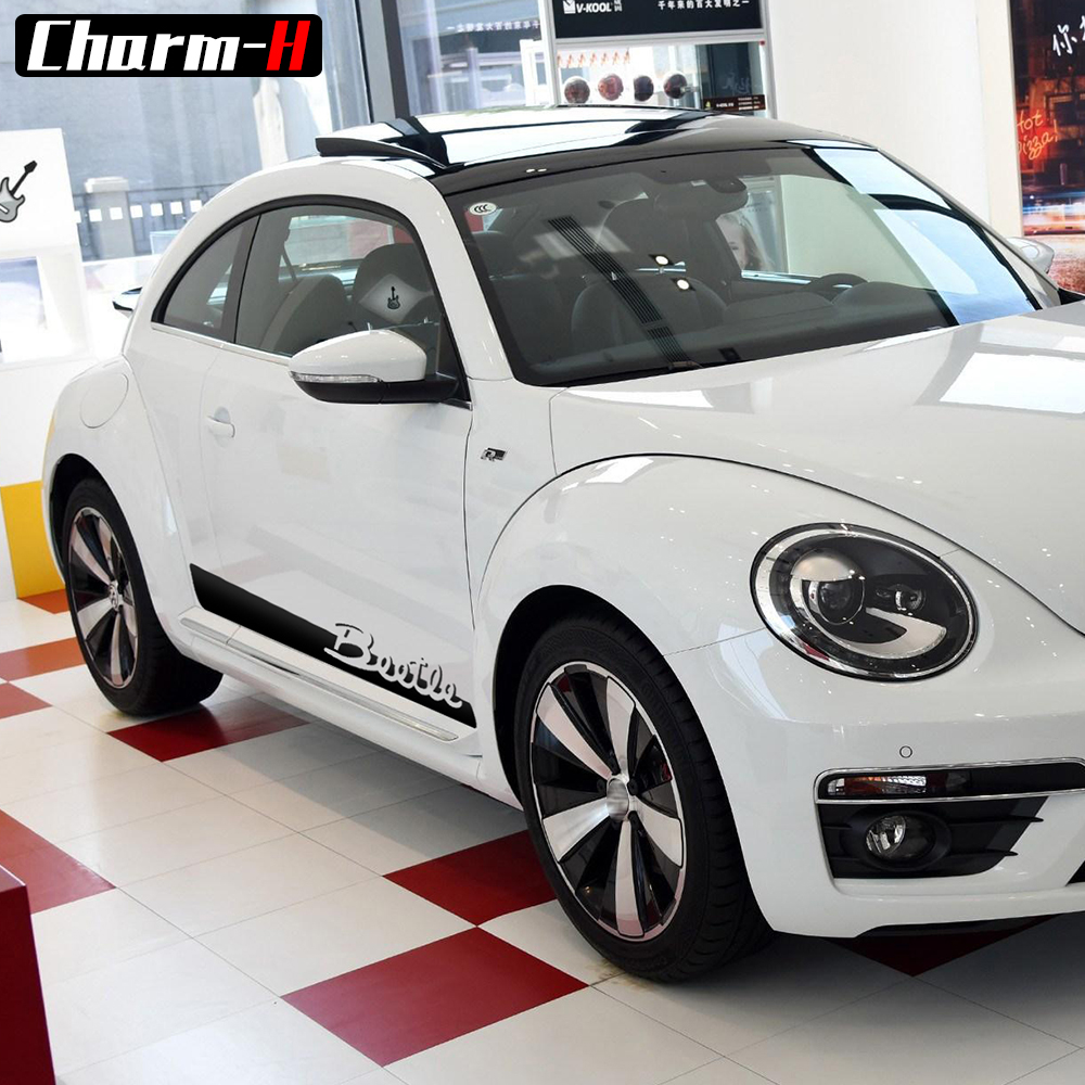 2 шт., наклейки для стайлинга автомобиля, двери, боковые полосы, Виниловая наклейка, наклейки для Volkswagen Beetle, 2011-настоящий Графический стикер, ...