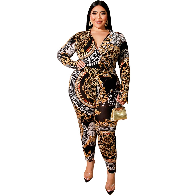 Women Spring Winter New Long Sleeve Deep V Neck Thumb Hole 3D Printed Jumpsuits Plus Size XL-5XL Skinny Streetwear Slim Outfits
