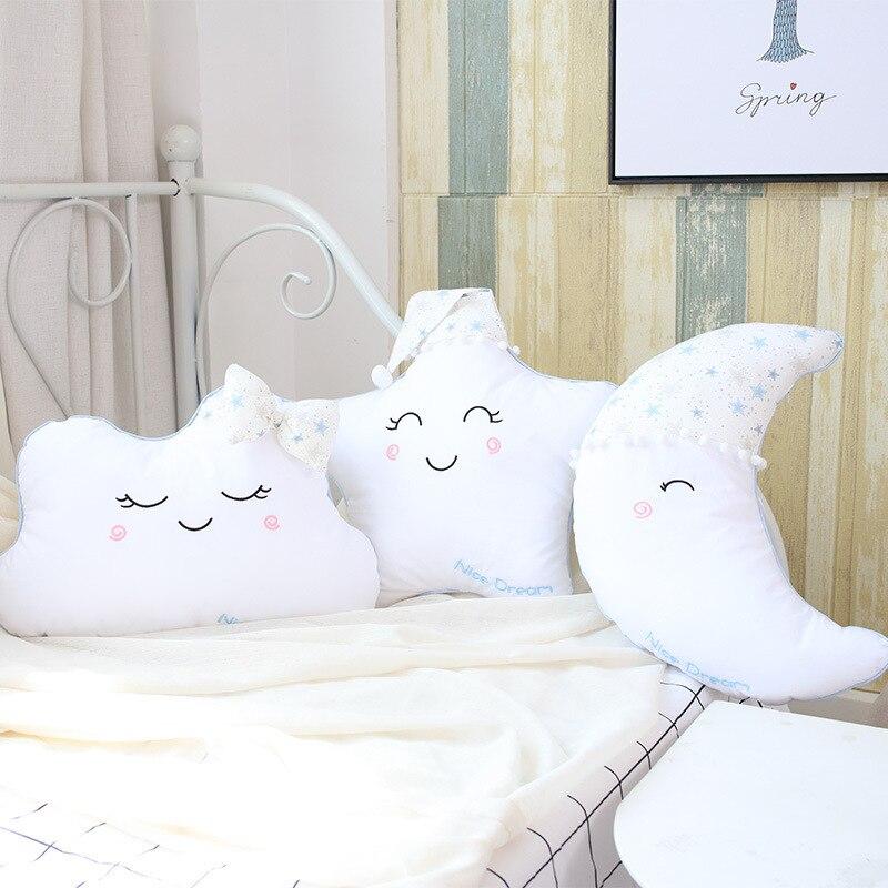 Nordic Baby Room Cushion Decor Plush Stuffed Toy White Moon Star Cloud Baby Nursery Bedroom Decor Kids Room Decorative Cushion