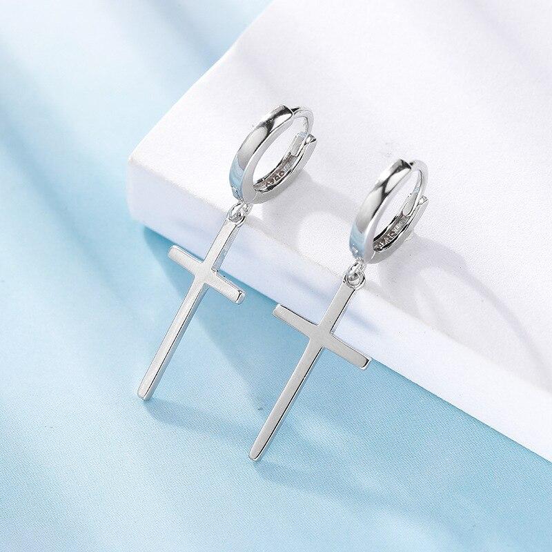 ANENJERY Personality Cross Pendant Hoop Earring Silver Color Hypoallergenic Ear Jewelry For Women Men Gifts S-E1102