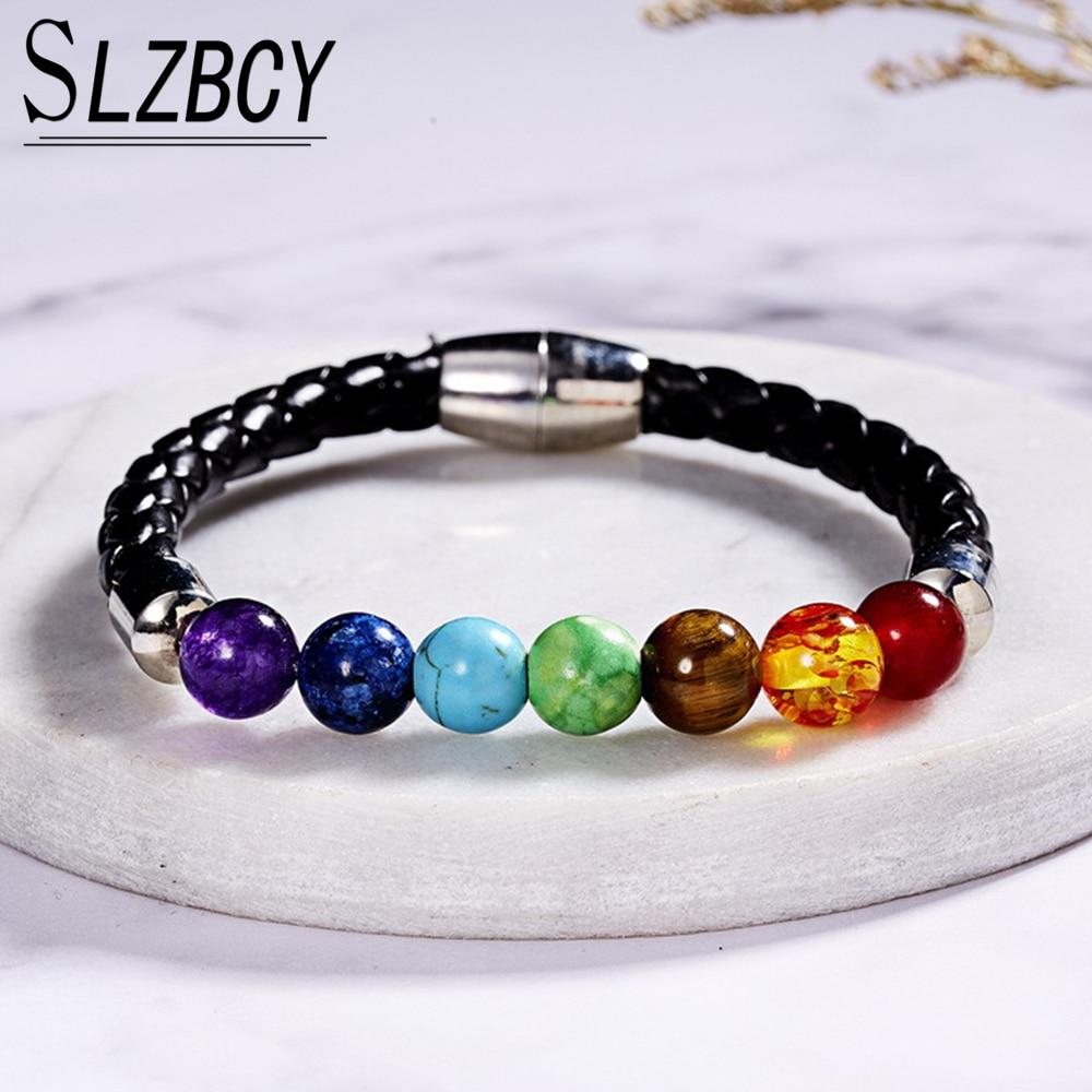 8mm 7 Chakra Healing Beads Leather Bracelets Prayer Balance Natural Stone Bracelet Yoga Magnetic Wristband Women Men Jewelry