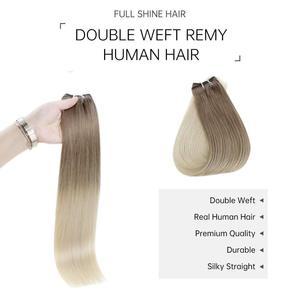 Image 3 - Tam parlaklık saç atkı görünmez makine Remy saç demetleri Balayage renk 100g cilt atkı çift atkı dikmek saç ekleme