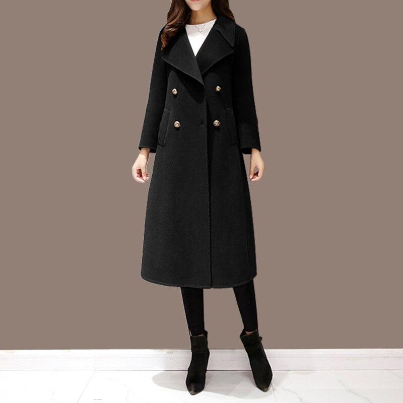 Nuevo abrigo de lana de Invierno para mujer abrigo largo doble botonadura Casual elegante chaqueta femenina Casaco femenino negro de talla grande 5XL - 2
