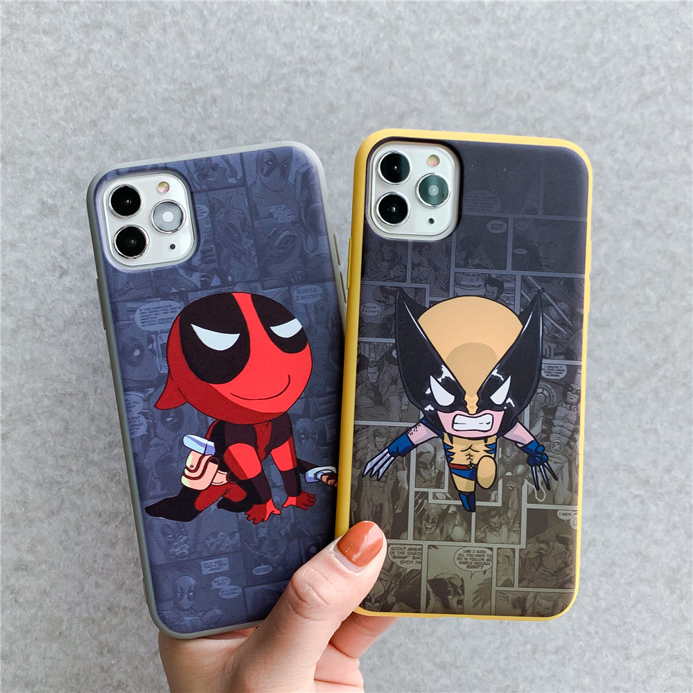 Cartoon Cute marvel superhero Wolverine Hulk Thor Deadpool Case for iPhone 11 Pro X XS Max XR 6 7 8 Plus Soft Silicon Cover image