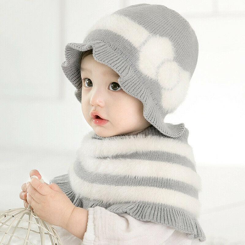8-28M Newborn Infant Toddler Kids Baby Girls Princess Cute Striped Ruffle Caps Hat Winter Warm Knitted Scarf Shawl 2Pcs/Set