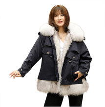 2019 New Style Women Parka Real Fur Fox Fur Coat Winter Warm Large Fox Fur Collar Removable Fox Fur Parkas  Coats and Jackets snow wear large fur collar coat women parka long 2017 winter parkas female thick warm ladies jackets and coats outerwear brown z