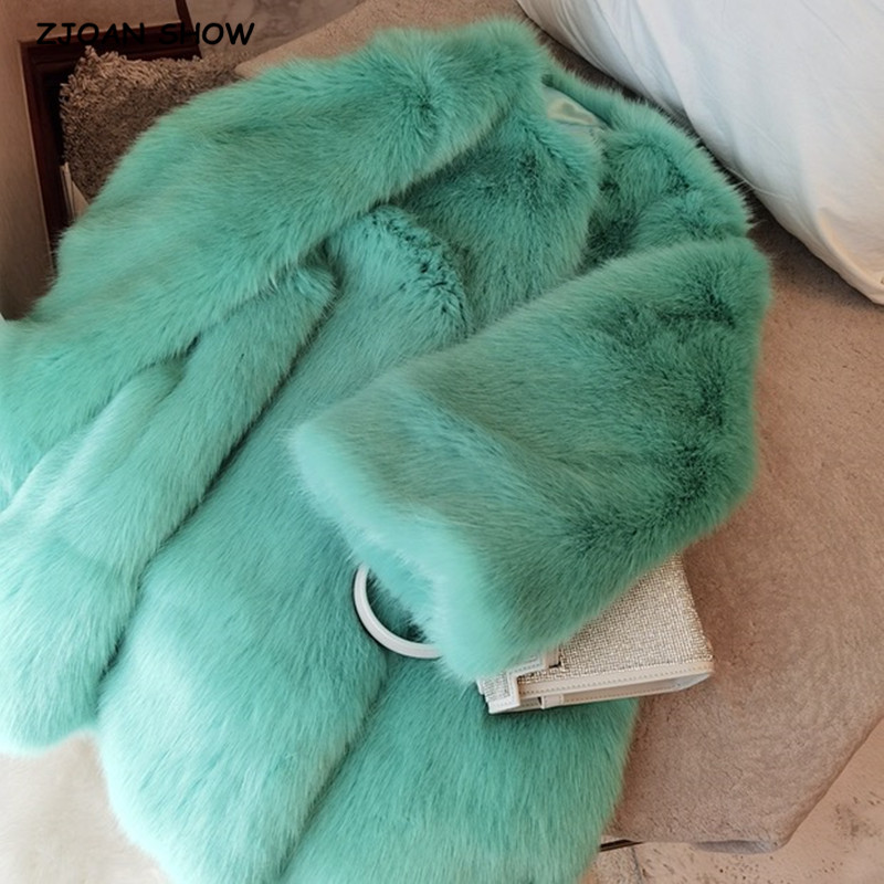 Keep Warm Women Winter Turquoise Green Hairy Shaggy Faux Fox Fur Jacket Elegant Long sleeve Furry Coat Elegant Party Outerwear