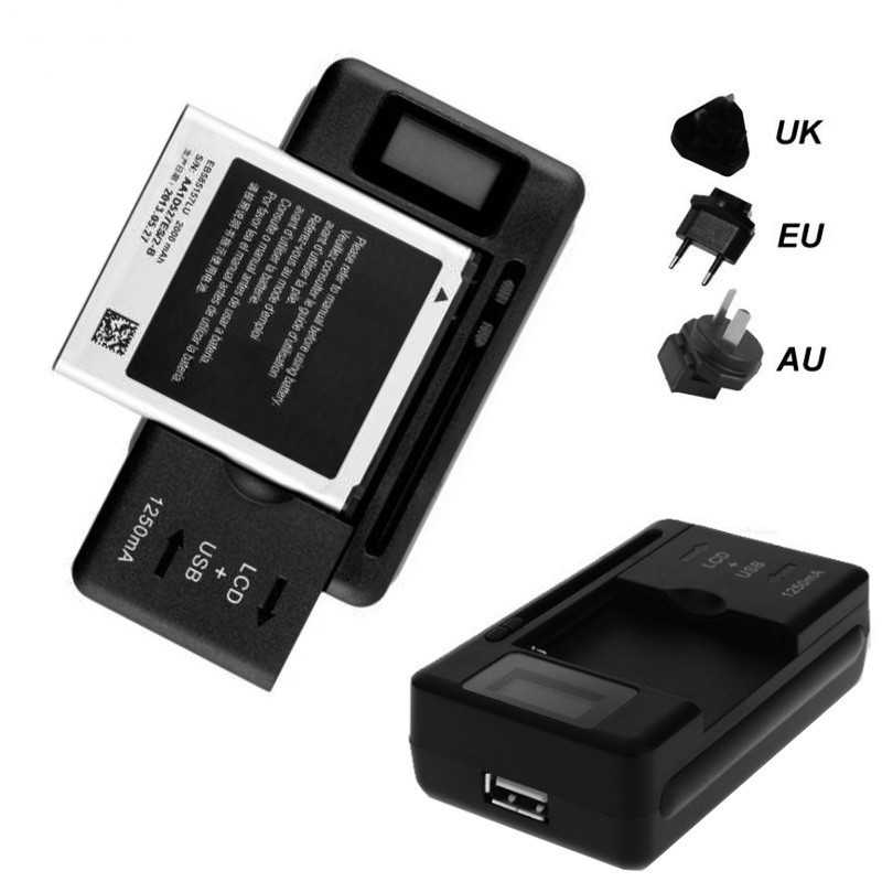 EU/UK/US PLUG Universal Mobile Battery Charger USB-Port LCD Indicator Screen for Cell Phones Smart Charger