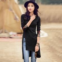 Ethnic Embroidery Long Black Tshirt Women Elegant Side Split Tee Shirt Femme Aut
