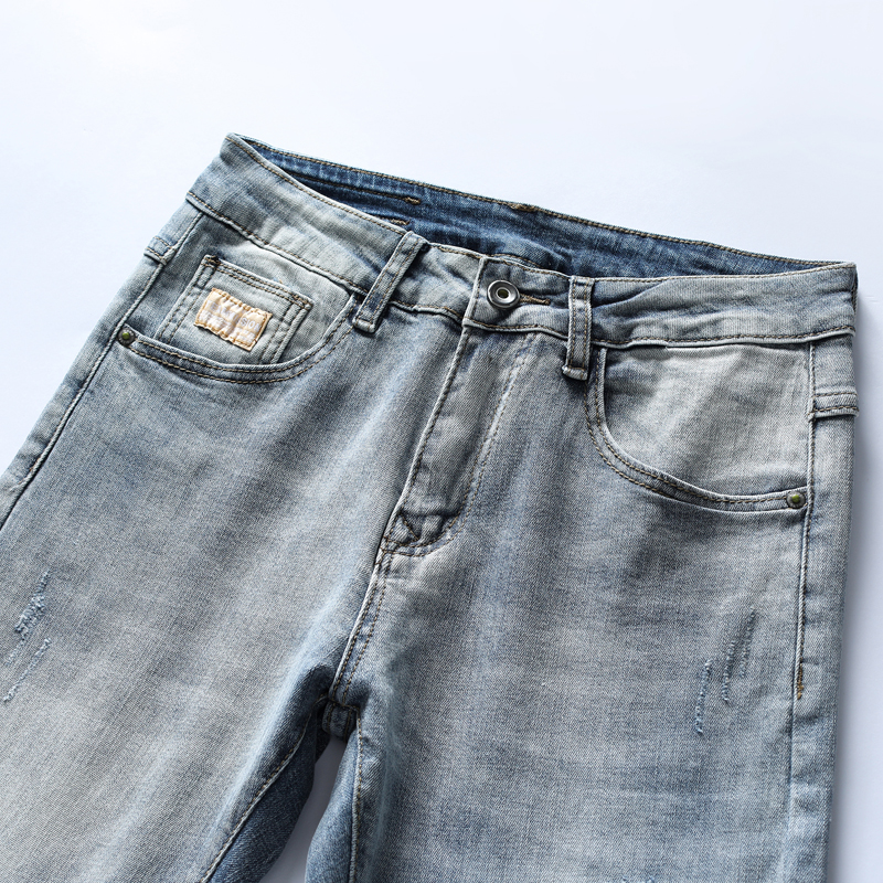 Light Blue Jeans Men Skinny Fit Elasticity Spring and Autumn Patched Casual Pencil Pants Denim