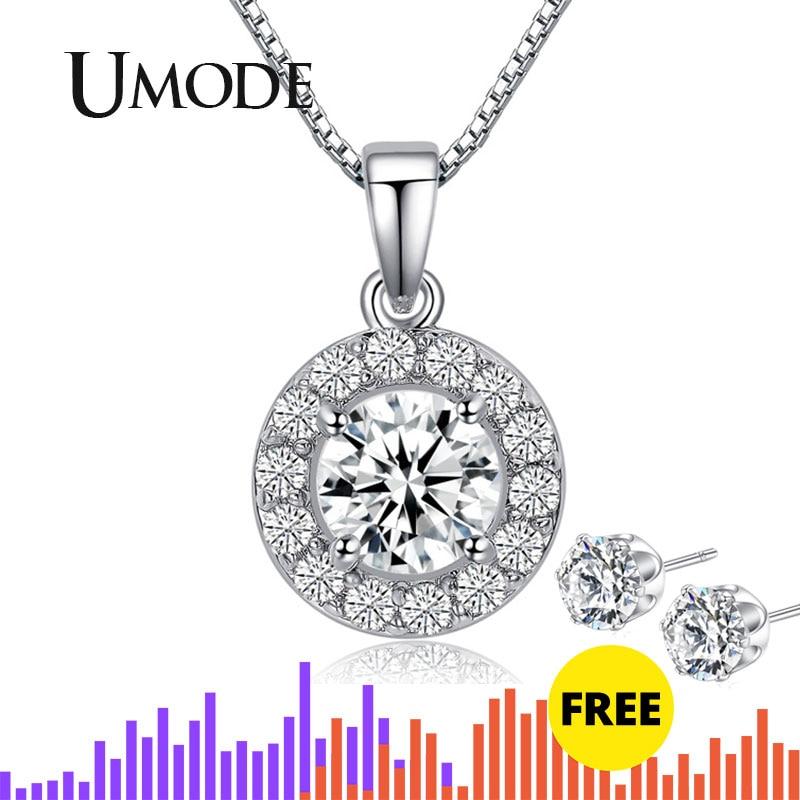 Hearts & Arrows cut Top Quality 0.6 carat Swiss CZ Diamond Round Pendant Necklace (Umode UN0012)