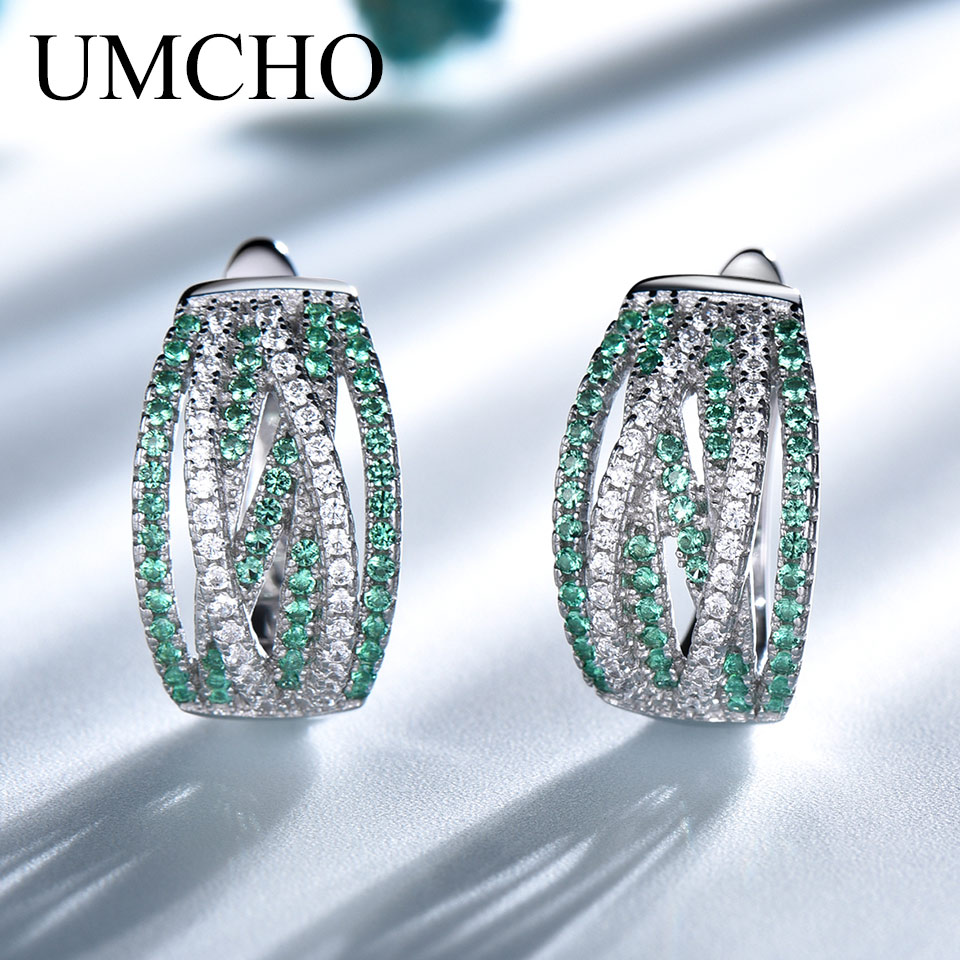 UMCHO Emerald Clip Earrings For Women Silver 925 Jewelry Party Wedding Gift 925 Sterling Silver Earrings Fine Jewelry