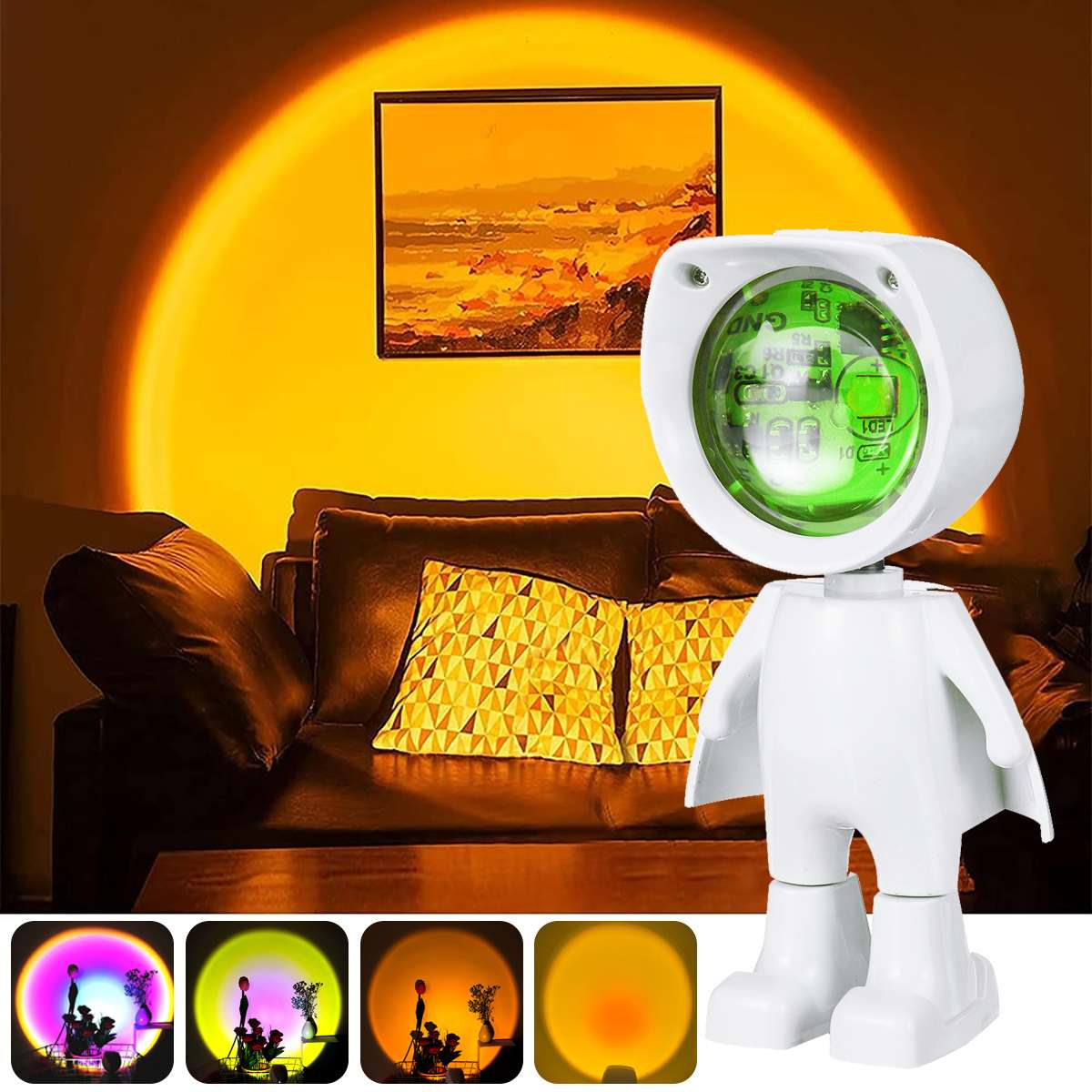 USB 360° Sunset Projector Lamp Robot Led Projector Night Lights Rainbow Sunset Red Selfie Light Bedroom Atmosphere Table Lamp