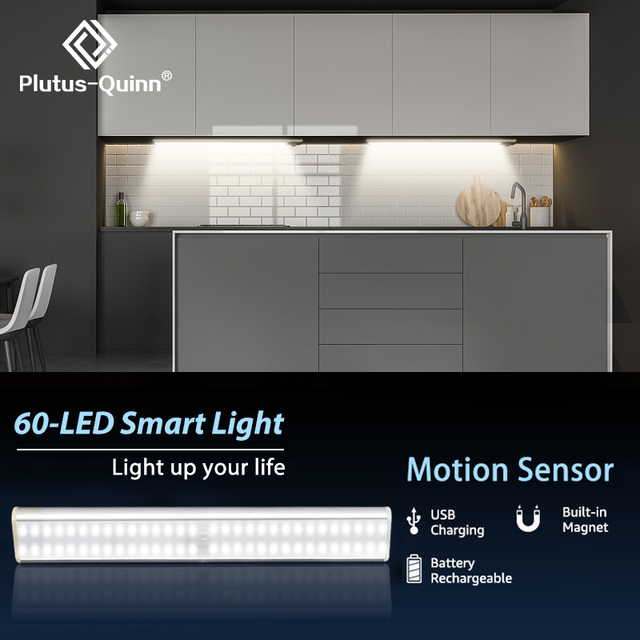 24/40/60 LEDs PIR LED Motion Sensor Light USB Rechargeable LED Under Cabinet Night Light For Kitchen Closet Wardrobe Stairs