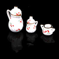 Juego de 3 piezas de vajilla para comedor, juego de té de porcelana, taza, casa de muñecas, juguete de cocina en miniatura, muebles, Juguetes