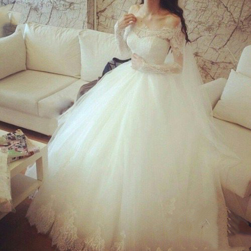 Fashion Off The Shoulder Lace Long Sleeve Ball Gown Wedding Bridal Dresses