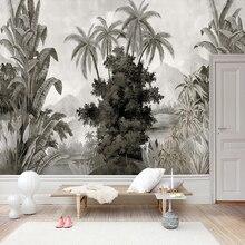 מותאם אישית קיר טפט אירופאי סגנון רטרו יד בננה צבוע קוקוס עצי פרסקו סלון טלוויזיה ספה שינה 3D קיר