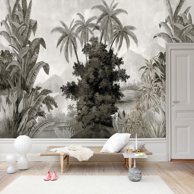 Image 2 - Custom Mural Wallpaper European Style Retro Hand painted Banana Coconut Trees Leaves Fresco Living Room TV Sofa Bedroom 3D MuralWallpapers   -