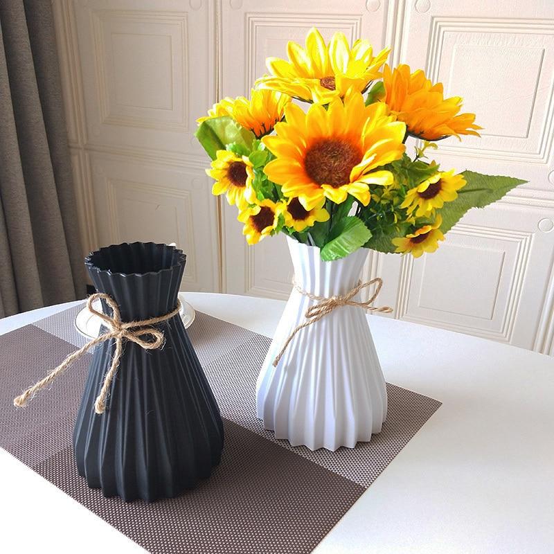 Jarrones de plástico para decoración del hogar, jarrones anticerámicos, Boda europea, decoraciones modernas, estilo ratán, irrompible, sencillez creativa