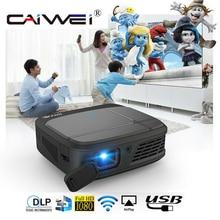 CAIWEI H6W Mini projektor do smartfona DLP 1080P przenośny akumulator WIFI Beamer 3D kino lustro obsada bezprzewodowy projektor multimedialny