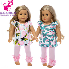 18 inch american Doll clothes set for Baby Doll pants clothes 18 girl doll coat 1 set 18 american girl doll clothes and accessories white shirt and flower trousers 18 inch american girl dolls clothes ingbaby