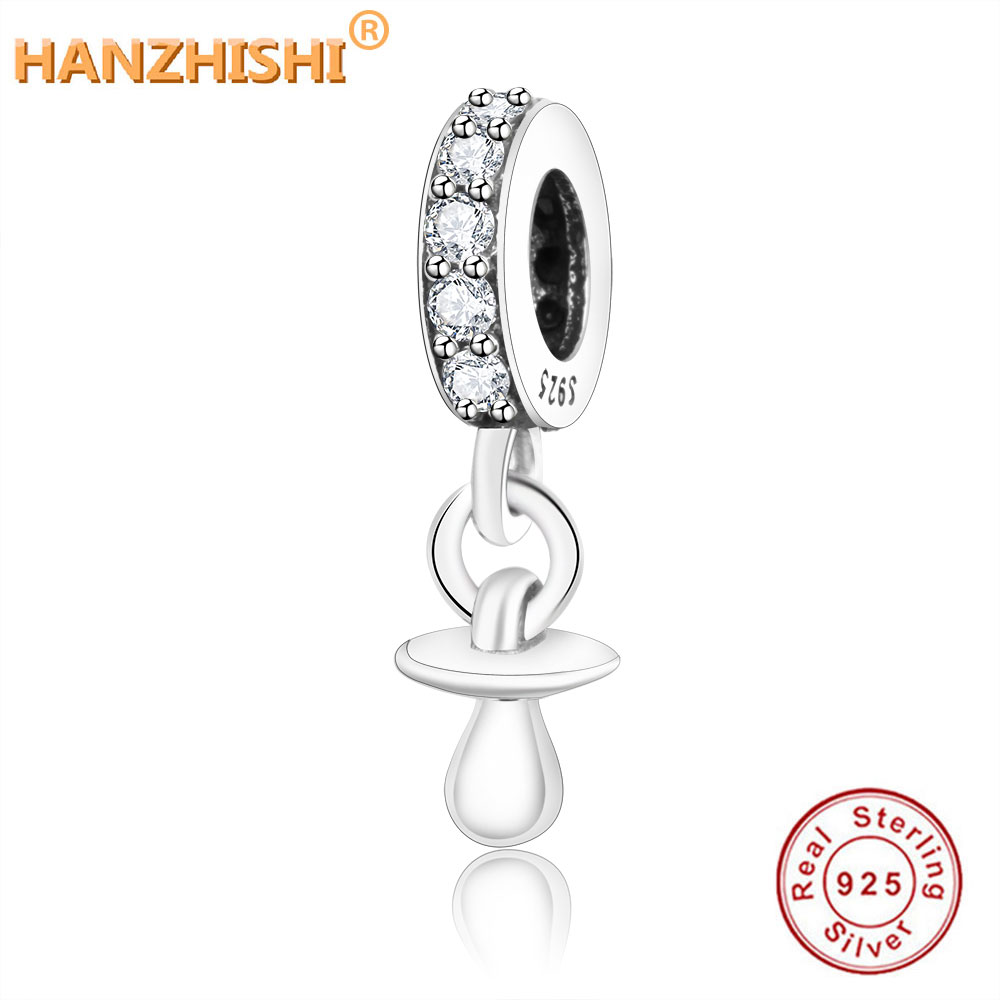 Fit Original pandora Bracelet Charm pendant DIY Jewelry 2018 New Authentic 925 Sterling Silver Shimmering Pacifier Hanging Charm(China)