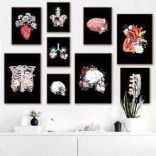 Cerebro corazón negro blanco anatomía Vintage pared arte lienzo pintura carteles nórdicos e imprime cuadros de pared para la decoración de la sala de estar