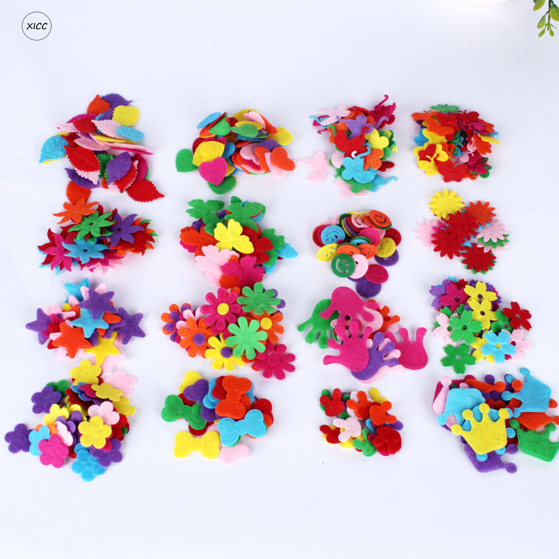 XICC 100PCS Colorful Nonwoven Round Flower Wool Felt Fabric Hair Rope DIY Handmade Accessory Sticker Applique Patches Felt Pad