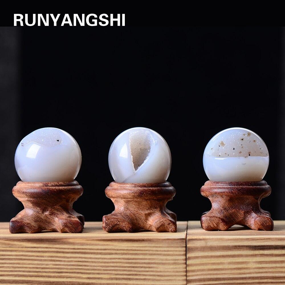 25-35mm naturalny kryształ agat dziura piłka zdrowie energia kamień Feng Shui dekoracji wnętrz ozdoby na biurko