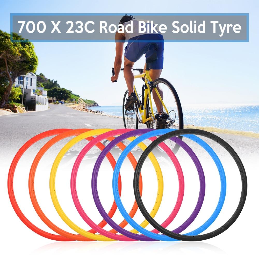 Bicicleta pneu sólido 700x23c bicicleta de estrada ciclismo sem câmara pneu roda à prova de punctura livre inflável pneus de bicicleta acessórios de bicicleta