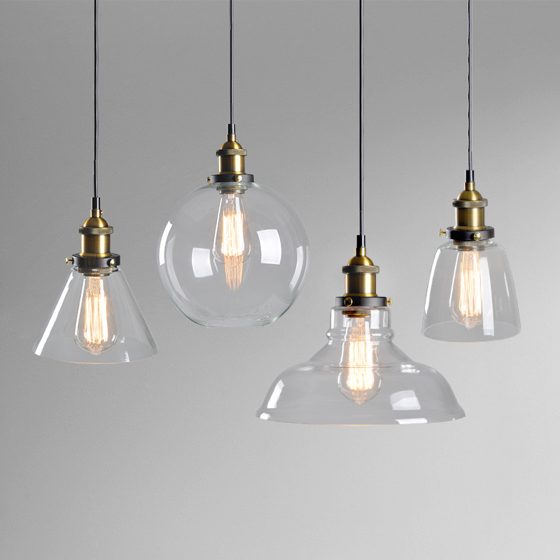 Modern Round Transparent Glass Pendant Lights Led E27 Bulb Hanging Lamp For Living Room Kitchen Nordic Indoor Decor Fixtures
