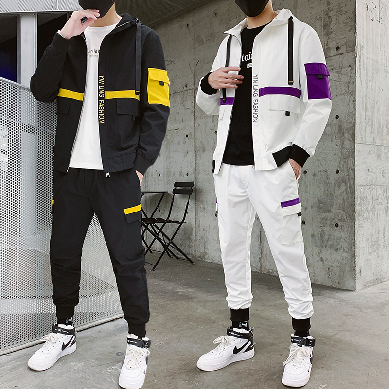 Men's Tracksuit Fall/winter Man Two-piece Set Sweat Suit Polyester Overalls Korean Tooling Suits Plus Size Hoodies/harlan Pants