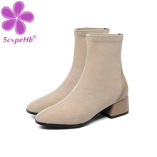 Women Killer Boots Autumn Winter Shoes England Mid-Calf Martin Boots Solid Color High Heel Stitching Design Ladies Footwear 2020 concise solid color and suede design women s mid calf boots