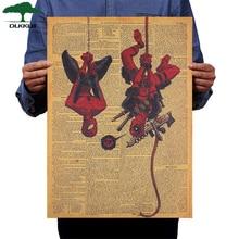 DLKKLB afiche de superhéroe clásico Deadpool Spiderman película Vintage arte decoración en papel Kraft pintura hogar Bar Café etiqueta de la pared