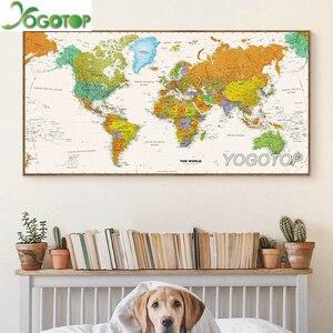 Carte du monde grande taille 5D bricolage | Peinture diamant, perceuse complète, mosaïque broderie artisanat strass, décor de salle d'étude et de bureau, YY1929