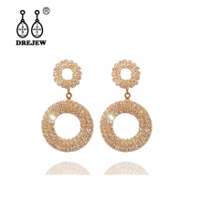 DREJEW Big Small Circle Gold Silver Rose Rhinestone Statement Earrings 2019 925 Crystal Drop for Women Jewelry HE345